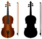 Violin. Isolated violin with black silhouette on white background Royalty Free Stock Photos