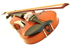 Violin. With bow on white background royalty free stock photos