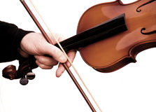Violin. With hand and bow Stock Image