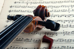 Violin. With the bow and notes on a white background, Isolated Royalty Free Stock Photo