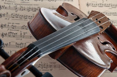 Violin. With the bow and notes on a white background, Isolated Royalty Free Stock Photography