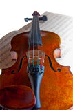 Violin. With the bow and notes on a white background, Isolated Royalty Free Stock Images