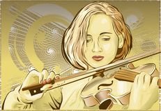 Violin. Soul music, violin in hands at the musician royalty free illustration