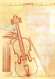 Violin. Abstract vintage music background with violin Royalty Free Stock Photography