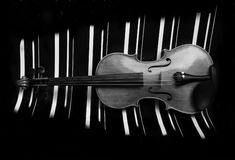 Violin. Black and white background Royalty Free Stock Photo