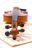 Violin. On a score sheet royalty free stock images
