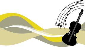Violin. Black violin on decorative wavy design Royalty Free Stock Photos