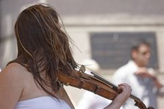 Violin. Female violin player Stock Images
