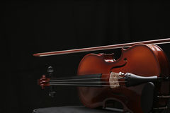 Violin_7. Violin in black background with high-light Stock Images