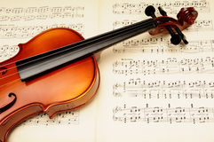 Violin. Detail of a classical violin on a music sheet Royalty Free Stock Photo