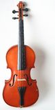 Violin. A small, red violin on a white background Royalty Free Stock Photo