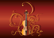 Violin and abstract pattern Royalty Free Stock Photo