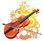 Violin and abstract pattern Stock Photo