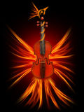 Violin as a firebird, the beauty of music Stock Photos