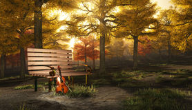 Violin in autumnal park. 3D Illustration Violin in autumnal park Royalty Free Stock Image