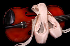 Violin and Ballet Shoes Stock Photos