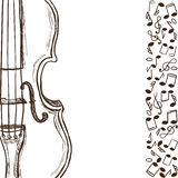 Violin or bass and music notes Royalty Free Stock Photo