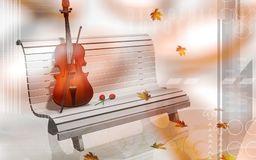 Violin and bench Stock Images