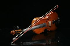 Violin on a black background. Closeup violin on a black background Royalty Free Stock Photography