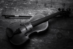 Violin black and white artistic conversion low lighting Stock Photos