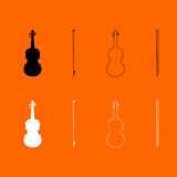 Violin black and white set icon . Royalty Free Stock Photography