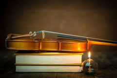 Violin and book Stock Image