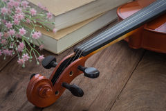Violin and book on wooden table Stock Image