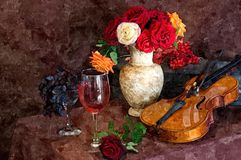 Violin and bouquet of bright fresh roses. A bunch of dark grapes and a glass of young wine. Romantic evening with champagne. royalty free illustration
