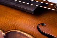 Violin bout and strings. Closeup of a violin bout, fingerboard, F-holes and strings Stock Image