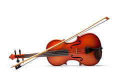 Violin and bow. On white background Royalty Free Stock Photos