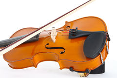 Violin and Bow. Single Violin and Bow on a White Background Royalty Free Stock Image