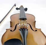 Violin and Bow. Close-up of violin and bow Royalty Free Stock Photo