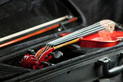 Violin and bow in black case Stock Image