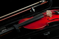 Violin and bow in black case Royalty Free Stock Photos