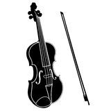 Violin with bow Stock Photo