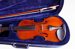 Violin and bow in case closeup (8) Stock Images