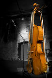 Violin and Bow Displayed on Stage Royalty Free Stock Photography