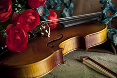 Violin and bow with flowers Stock Images