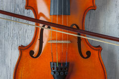 Violin with bow Royalty Free Stock Photo