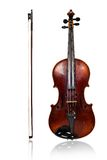 Violin and bow front view Stock Images