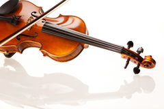 Violin with bow. In front of white background Stock Images