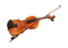 Violin and bow isolated Stock Photos
