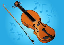 Violin bow and music Royalty Free Stock Photo