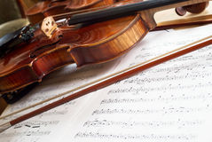 Violin and bow on music score Royalty Free Stock Image