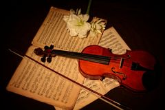 Violin and bow on music sheets Stock Photography