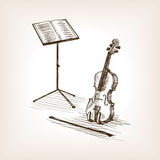 Violin bow music stand hand drawn sketch vector Royalty Free Stock Photo