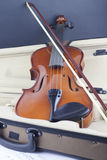 Violin and bow on musical notes Royalty Free Stock Image