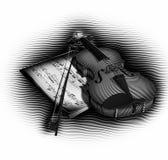 Violin, Bow and Notes Royalty Free Stock Photos