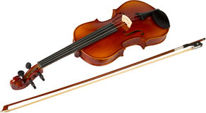 Violin and Bow (series). Violin and Bow at the white background, isolated, (series Royalty Free Stock Photo