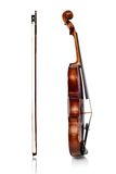 Violin and bow side view. On a white background Royalty Free Stock Photography